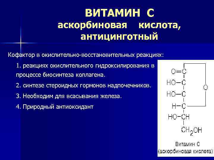 ВИТАМИН С аскорбиновая кислота, антицинготный Кофактор в окислительно-восстановительных реакциях: 1. реакциях окислительного гидроксилирования в