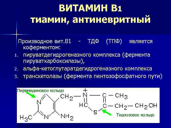 ВИТАМИН B 1 тиамин, антиневритный Производное вит. В 1 - ТДФ (ТПФ) является коферментом: