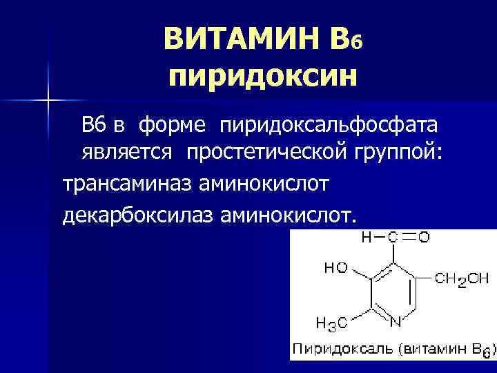 ВИТАМИН В 6 пиридоксин В 6 в форме пиридоксальфосфата является простетической группой: трансаминаз аминокислот
