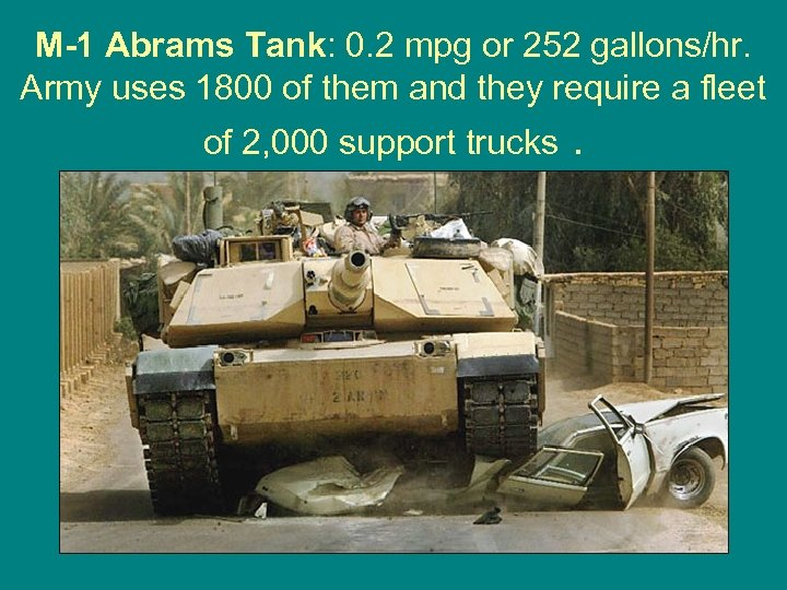 M-1 Abrams Tank: 0. 2 mpg or 252 gallons/hr. Army uses 1800 of them