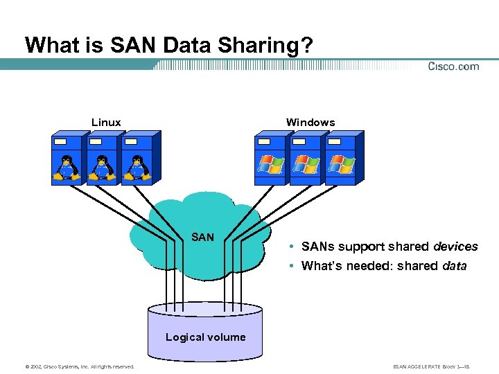 What is SAN Data Sharing? Linux Windows SAN • SANs support shared devices •