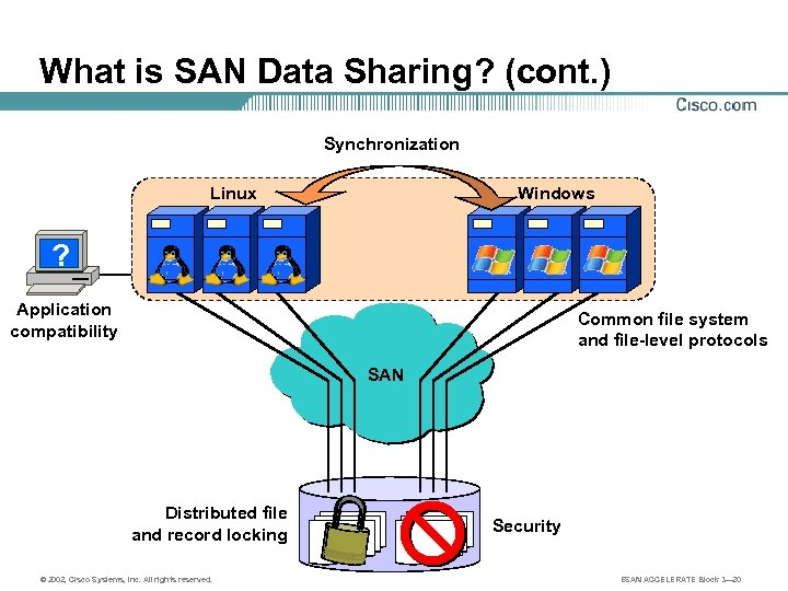 What is SAN Data Sharing? (cont. ) Synchronization Linux Windows ? Application compatibility Common