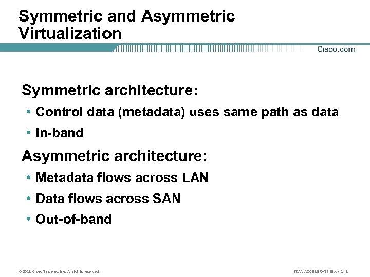 Symmetric and Asymmetric Virtualization Symmetric architecture: • Control data (metadata) uses same path as