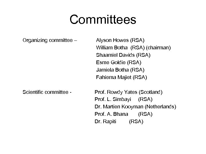 Committees Organizing committee – Alyson Howes (RSA) William Botha (RSA) (chairman) Shaamiel Davids (RSA)