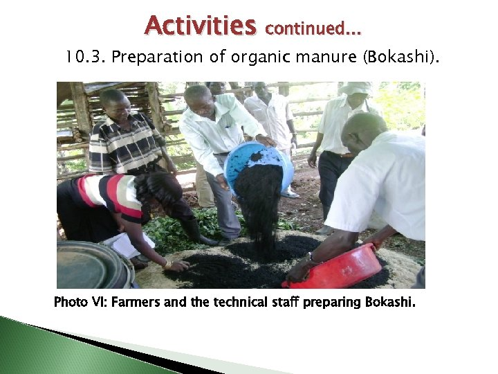 Activities continued… 10. 3. Preparation of organic manure (Bokashi). Photo VI: Farmers and the