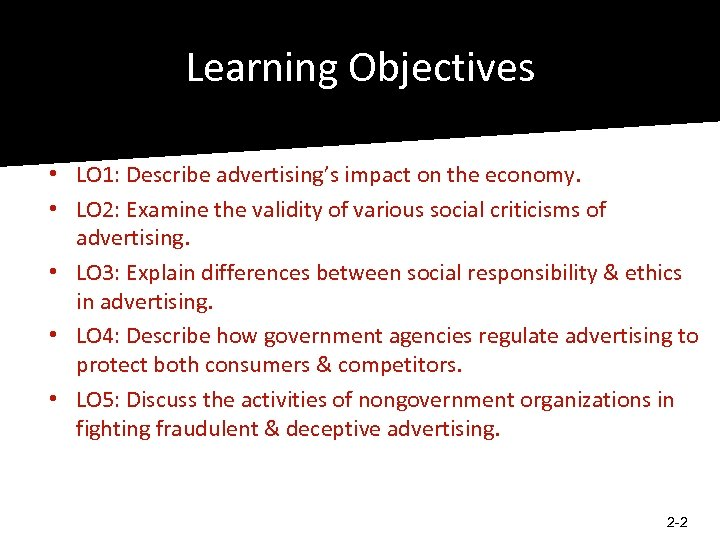Learning Objectives • LO 1: Describe advertising's impact on the economy. • LO 2: