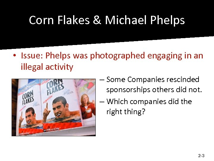 Corn Flakes & Michael Phelps • Issue: Phelps was photographed engaging in an illegal