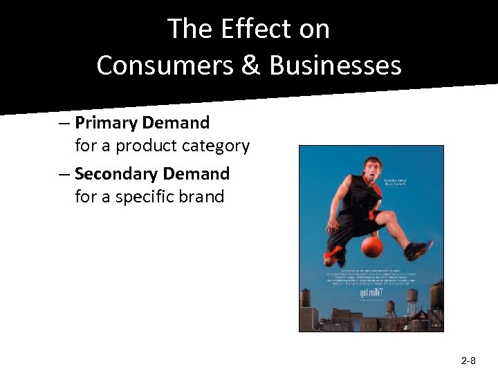 The Effect on Consumers & Businesses – Primary Demand for a product category –