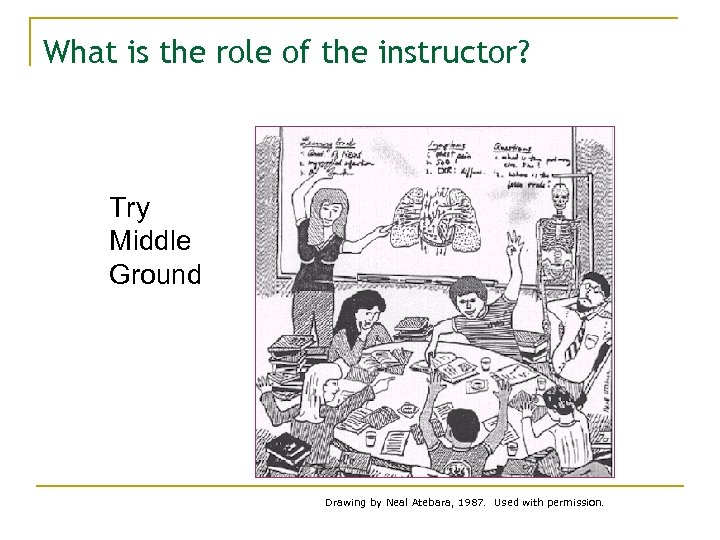 What is the role of the instructor? Try Middle Ground Drawing by Neal Atebara,