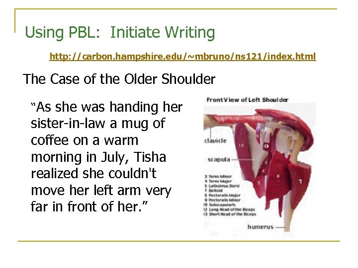 Using PBL: Initiate Writing http: //carbon. hampshire. edu/~mbruno/ns 121/index. html The Case of the