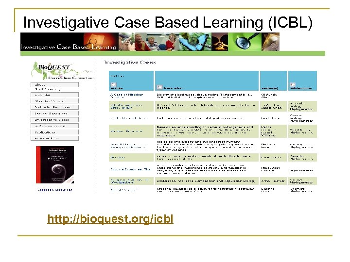 Investigative Case Based Learning (ICBL) http: //bioquest. org/icbl