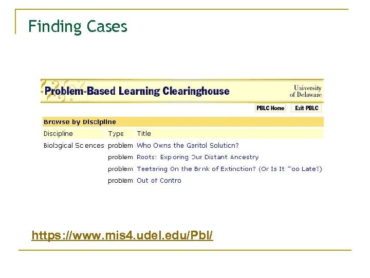 Finding Cases https: //www. mis 4. udel. edu/Pbl/