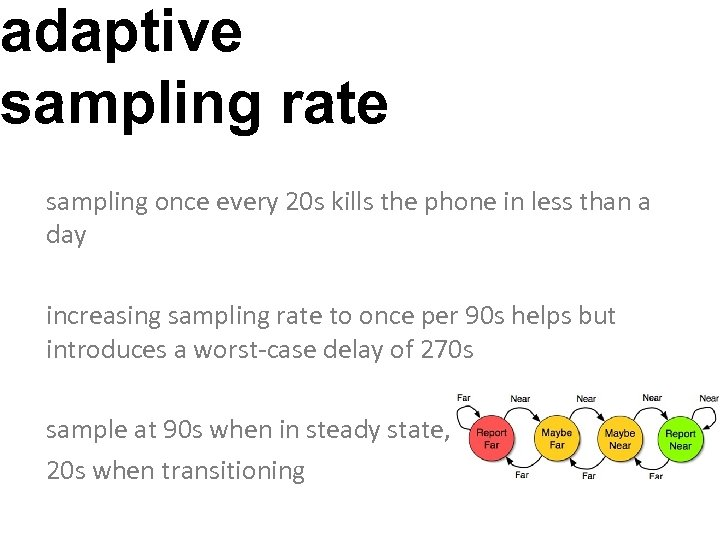 adaptive sampling rate sampling once every 20 s kills the phone in less than