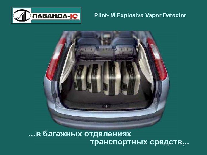 Pilot- M Explosive Vapor Detector …в багажных отделениях транспортных средств, . .