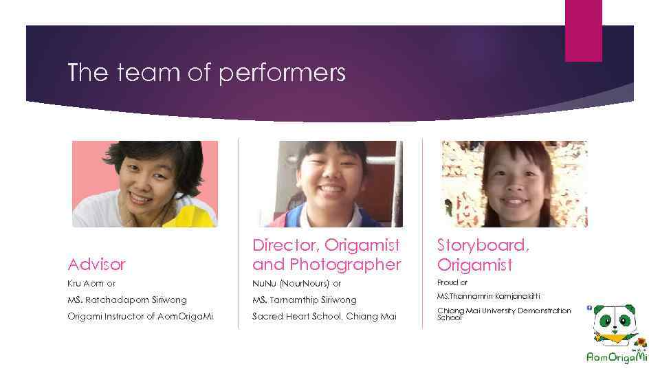 The team of performers Advisor Director, Origamist and Photographer Storyboard, Origamist Kru Aom or