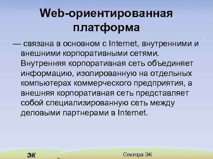 Web-ориентированная платформа — связана в основном с Internet, внутренними и внешними корпоративными сетями. Внутренняя