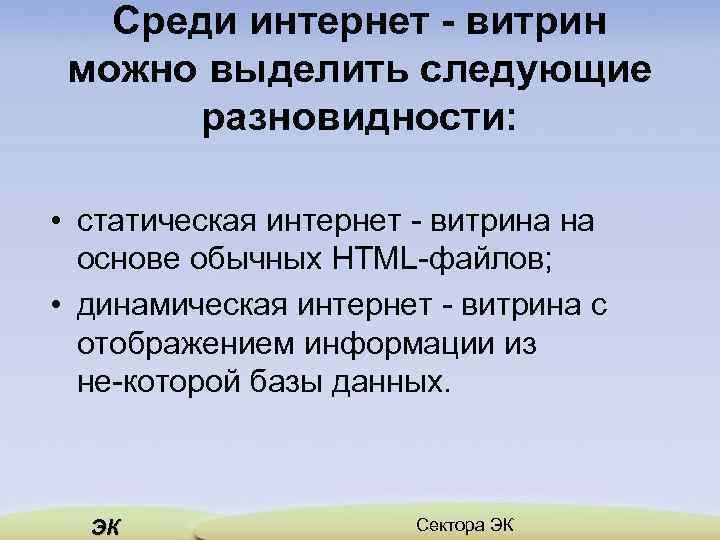 Среди интернет - витрин можно выделить следующие разновидности: • статическая интернет витрина на основе