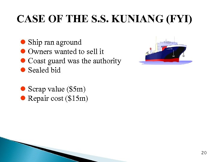 CASE OF THE S. S. KUNIANG (FYI) l Ship ran aground l Owners wanted
