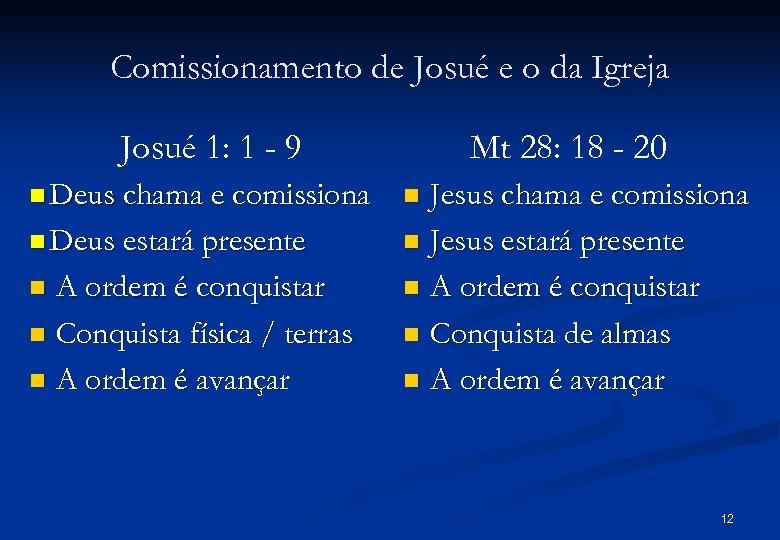 Comissionamento de Josué e o da Igreja Josué 1: 1 - 9 n Deus