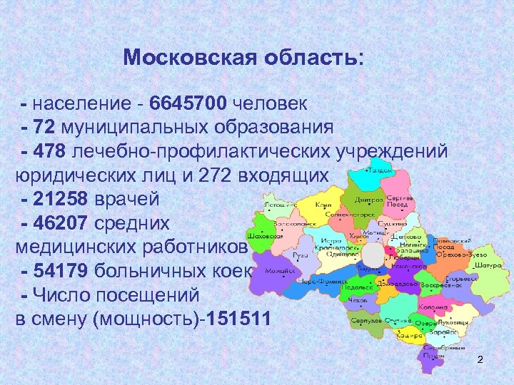 Московская область: - население - 6645700 человек - 72 муниципальных образования - 478 лечебно-профилактических