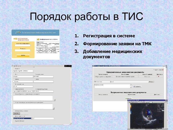 Порядок работы в ТИС 1. Регистрация в системе 2. Формирование заявки на ТМК 3.
