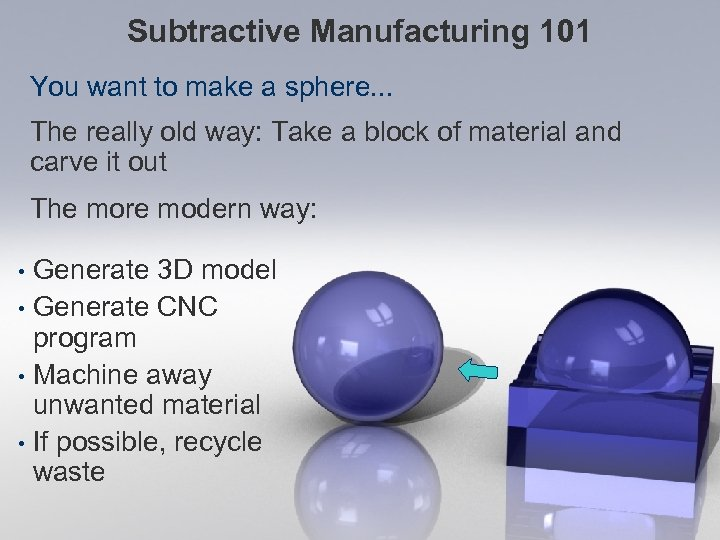 Subtractive Manufacturing 101 You want to make a sphere. . . The really old