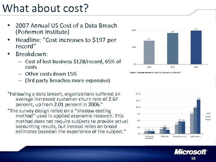 What about cost? • 2007 Annual US Cost of a Data Breach (Ponemon Institute)