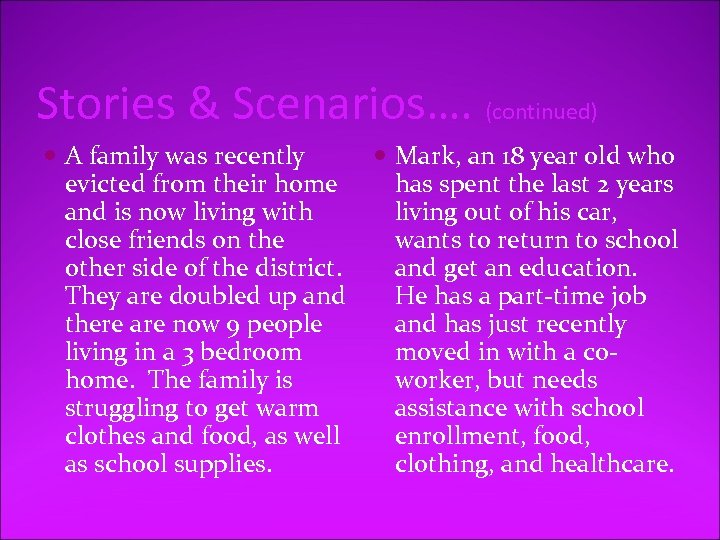 Stories & Scenarios…. (continued) A family was recently evicted from their home and is
