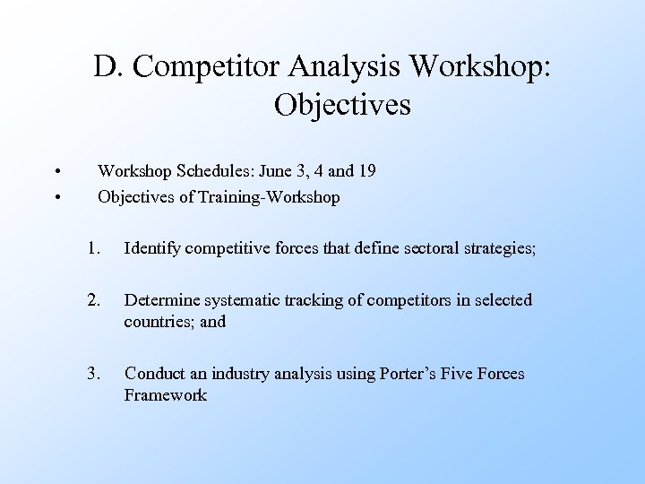 D. Competitor Analysis Workshop: Objectives • • Workshop Schedules: June 3, 4 and 19