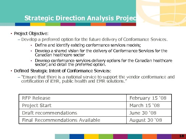 Strategic Direction Analysis Project • Project Objective: – Develop a preferred option for the
