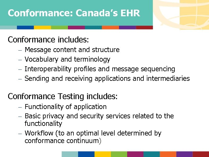 Conformance: Canada's EHR Conformance includes: – – Message content and structure Vocabulary and terminology