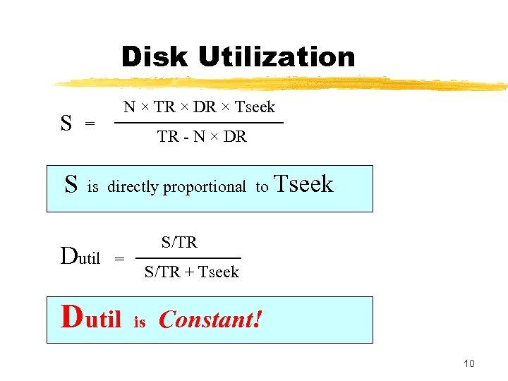 Disk Utilization N × TR × DR × Tseek S = S is directly