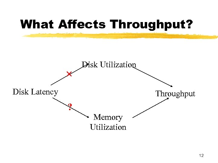 What Affects Throughput? × Disk Utilization Disk Latency Throughput ? Memory Utilization 12