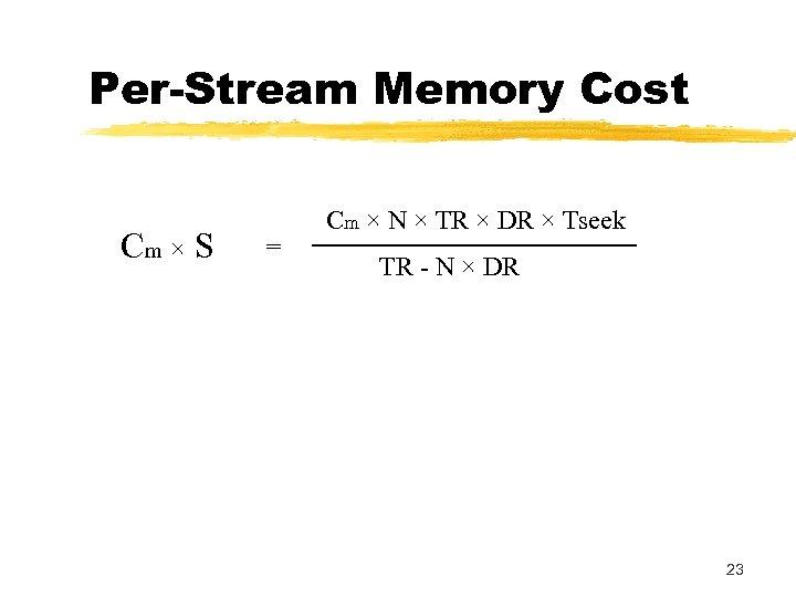Per-Stream Memory Cost Cm × S = Cm × N × TR × DR