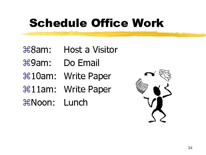 Schedule Office Work z 8 am: z 9 am: z 10 am: z 11
