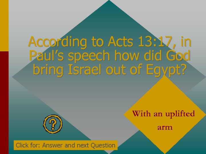According to Acts 13: 17, in Paul's speech how did God bring Israel out