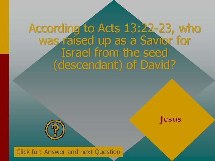 According to Acts 13: 22 -23, who was raised up as a Savior for