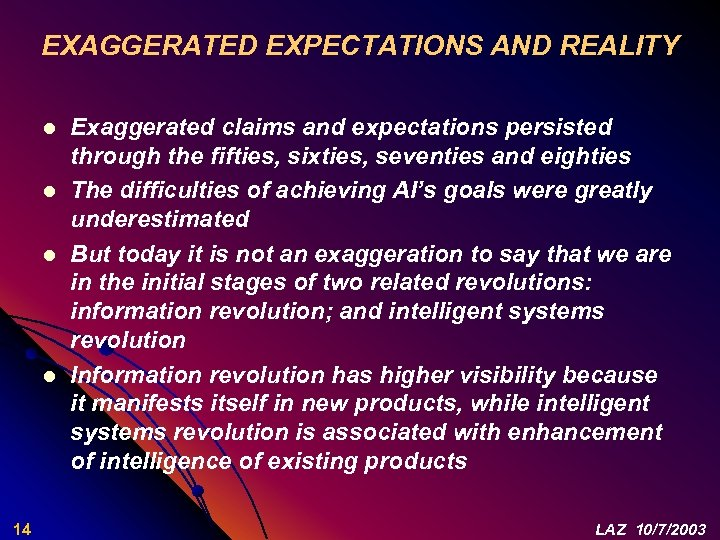 EXAGGERATED EXPECTATIONS AND REALITY l l 14 Exaggerated claims and expectations persisted through the