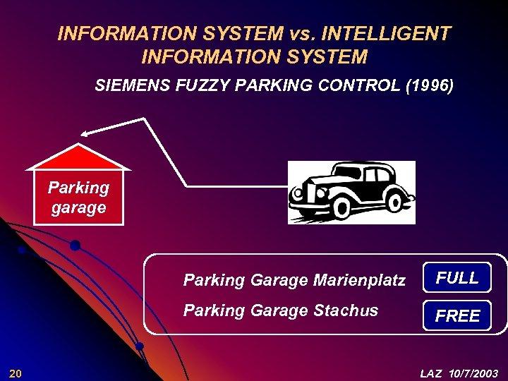 INFORMATION SYSTEM vs. INTELLIGENT INFORMATION SYSTEM SIEMENS FUZZY PARKING CONTROL (1996) Parking garage Parking