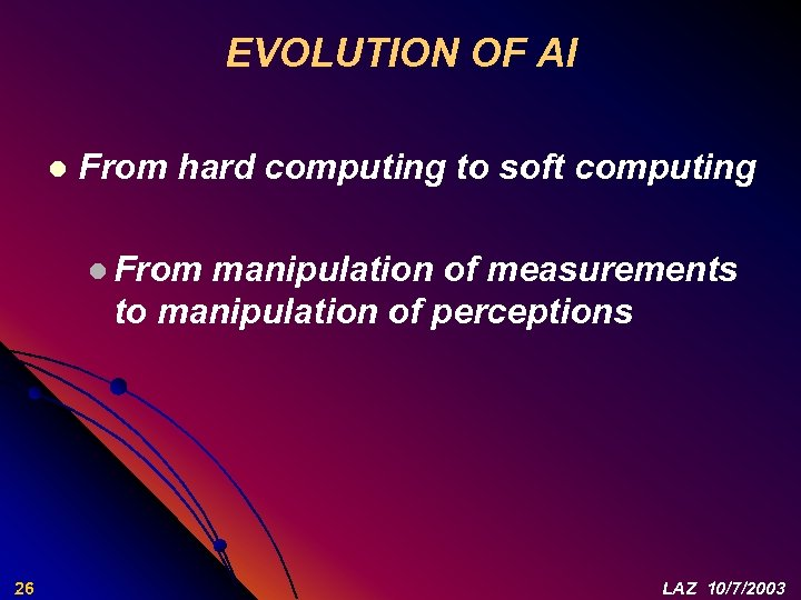 EVOLUTION OF AI l From hard computing to soft computing l From manipulation of
