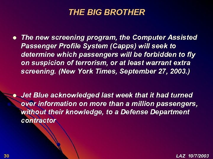 THE BIG BROTHER l l 30 The new screening program, the Computer Assisted Passenger
