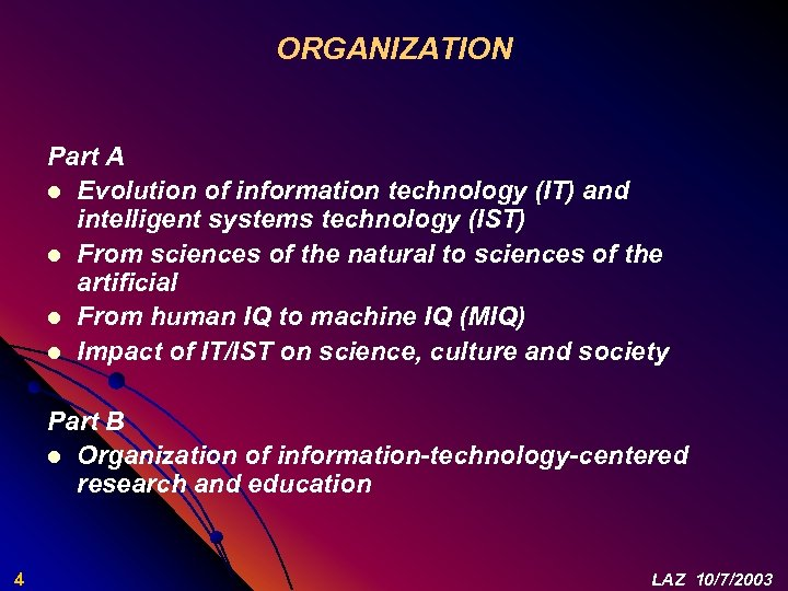ORGANIZATION Part A l Evolution of information technology (IT) and intelligent systems technology (IST)