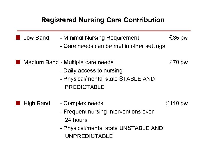 Registered Nursing Care Contribution n Low Band - Minimal Nursing Requirement £ 35 pw
