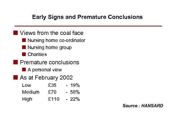 Early Signs and Premature Conclusions n Views from the coal face n Nursing home