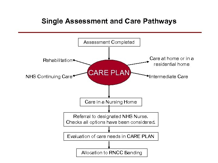 Single Assessment and Care Pathways Assessment Completed Care at home or in a residential
