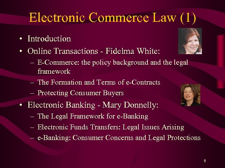 Electronic Commerce Law (1) • Introduction • Online Transactions - Fidelma White: – E-Commerce: