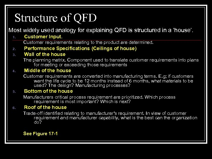 Structure of QFD Most widely used analogy for explaining QFD is structured in a