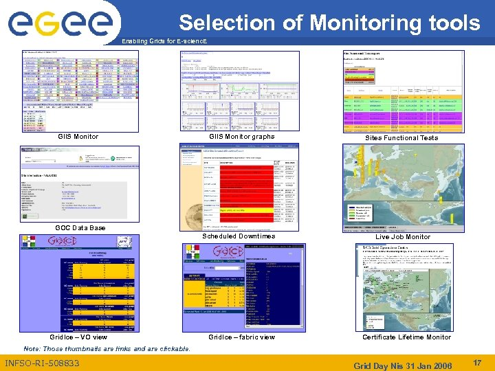 Selection of Monitoring tools Enabling Grids for E-scienc. E GIIS Monitor graphs Sites Functional
