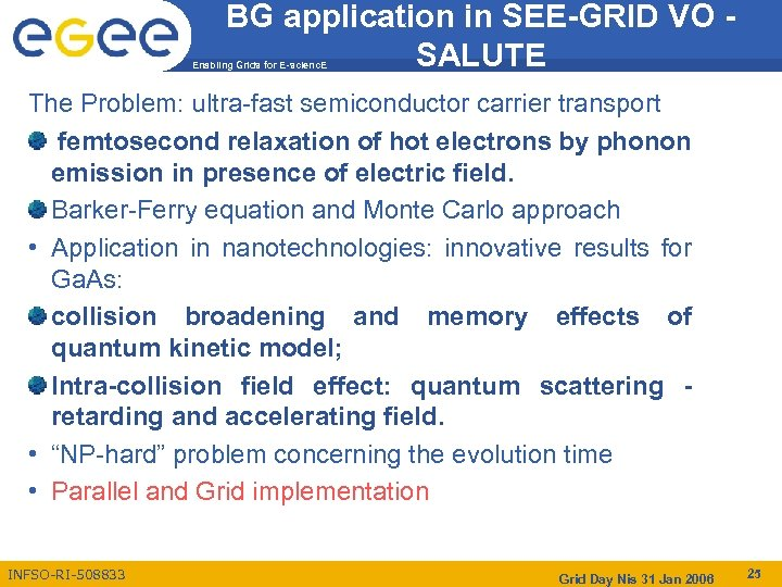 BG application in SEE-GRID VO SALUTE Enabling Grids for E-scienc. E The Problem: ultra-fast