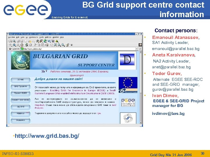 BG Grid support centre contact information Enabling Grids for E-scienc. E Contact persons: •
